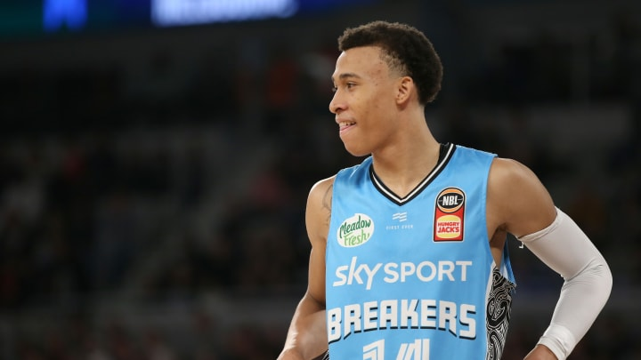 MELBOURNE, AUSTRALIA – OCTOBER 26: RJ Hampton of the Breakers looks on during the round four NBL match between Melbourne United and the New Zealand Breakers at Melbourne Arena. (Photo by Mike Owen/Getty Images)