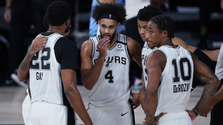 San Antonio Spurs Rudy Gay Derrick White DeMar DeRozan (Photo by Ashley Landis-Pool/Getty Images)