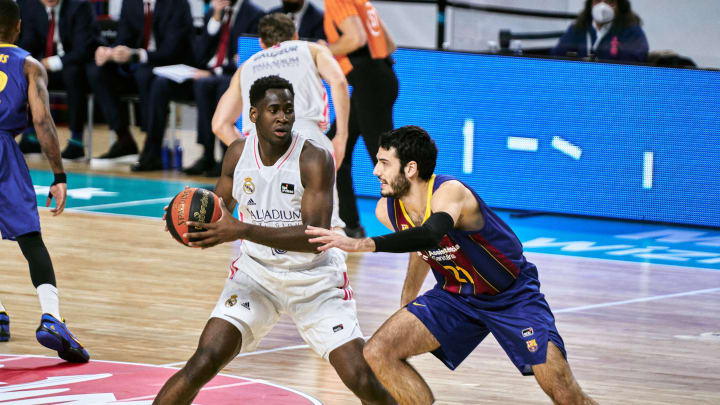 MADRID, SPAIN – DECEMBER 27: Usman Garuba of Real Madrid during the Liga ACB match between Real Madrid and FC Barcelona at Wizink Center on December 27, 2020 in Madrid, Spain. (Photo by Sonia Canada/Getty Images)