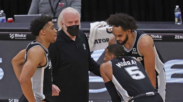 San Antonio Spurs Keldon Johnson Dejounte Murray Derrick White (Photo by Jonathan Daniel/Getty Images)