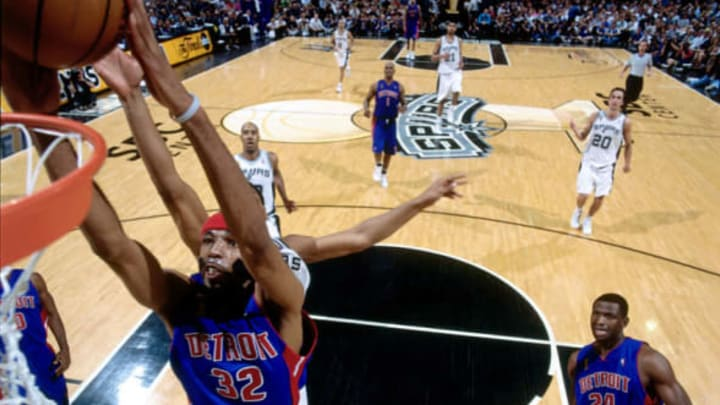SAN ANTONIO – JUNE 9: Richard Hamilton #32 of the Detroit Pistons dunks past the San Antonio Spurs in Game one of the 2005 NBA Finals at SBC Center on June 9, 2005 in San Antonio, Texas. The Spurs defeated the Pistons 84-69. NOTE TO USER: User expressly acknowledges and agrees that, by downloading and/or using this Photograph, user is consenting to the terms and conditions of the Getty Images License Agreement. Mandatory Copyright Notice: Copyright 2005 NBAE (Photo by Andrew D. Bernstein/NBAE via Getty Images)