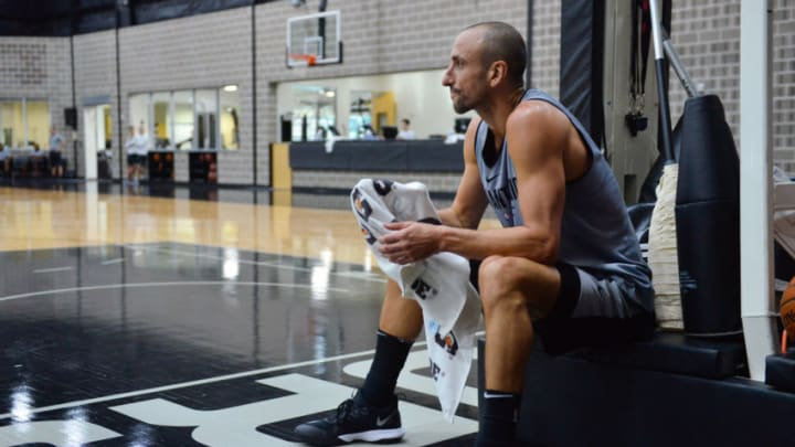 SAN ANTONIO, TX - OCTOBER 12: Manu Ginobili #20 of the San Antonio Spurs gets rest during an all access practice on October 10, 2017 in San Antonio, Texas at the Spurs Practice Facility. NOTE TO USER: User expressly acknowledges and agrees that, by downloading and/or using this Photograph, user is consenting to the terms and conditions of the Getty Images License Agreement. Mandatory Copyright Notice: Copyright 2017 NBAE (Photo by Robin Jerstad/NBAE via Getty Images)