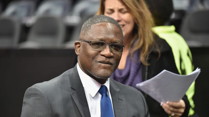 ATLANTA, GA – DECEMBER 14: Former San Antonio Spurs player and Hall of Famer Dominique Wilkins attends Detroit Pistons vs Atlanta Hawks in 2017 at the Philips Arena. (Photo by Moses Robinson/Getty Images)