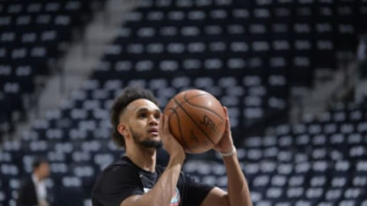 SAN ANTONIO, TX – APRIL 19: Derrick White #4 of the San Antonio Spurs warms up before Game Three of the Western Conference Quarterfinals against the Golden State Warriors on April 19, 2018 at the AT&T Center in San Antonio, Texas. NOTE TO USER: User expressly acknowledges and agrees that, by downloading and/or using this photograph, user is consenting to the terms and conditions of the Getty Images License Agreement. Mandatory Copyright Notice: Copyright 2018 NBAE (Photos by Mark Sobhani/NBAE via Getty Images)
