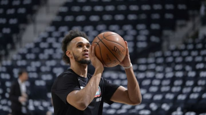 SAN ANTONIO, TX - APRIL 19: Derrick White #4 of the San Antonio Spurs warms up before Game Three of the Western Conference Quarterfinals against the Golden State Warriors on April 19, 2018 at the AT&T Center in San Antonio, Texas. NOTE TO USER: User expressly acknowledges and agrees that, by downloading and/or using this photograph, user is consenting to the terms and conditions of the Getty Images License Agreement. Mandatory Copyright Notice: Copyright 2018 NBAE (Photos by Mark Sobhani/NBAE via Getty Images)