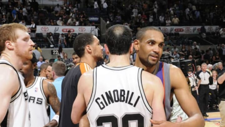 SAN ANTONIO – MAY 9: Manu Ginobili #20 of the San Antonio Spurs congratulates Grant Hill #33 of the Phoenix Suns in Game Four of the Western Conference Semifinals during the 2010 NBA Playoffs at AT&T Center on May 9, 2010 in San Antonio, Texas. NOTE TO USER: User expressly acknowledges and agrees that, by downloading and or using this photograph, User is consenting to the terms and conditions of the Getty Images License Agreement. Mandatory Copyright Notice: Copyright 2010 NBAE (Photo by D. Clarke Evans/NBAE via Getty Images)