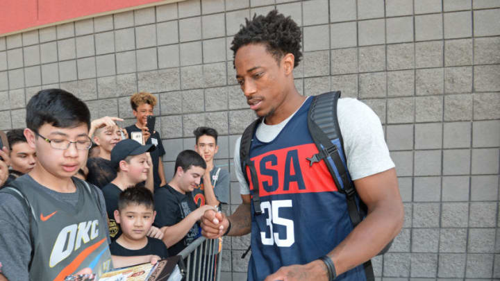LAS VEGAS, NV - JULY 26: DeMar DeRozan signs autographs after USAB Minicamp Practice at Mendenhall Center on the University of Nevada, Las Vegas campus on July 26, 2018 in Las Vegas, Nevada. NOTE TO USER: User expressly acknowledges and agrees that, by downloading and/or using this Photograph, user is consenting to the terms and conditions of the Getty Images License Agreement. Mandatory Copyright Notice: Copyright 2018 NBAE (Photo by Andrew D. Bernstein/NBAE via Getty Images)