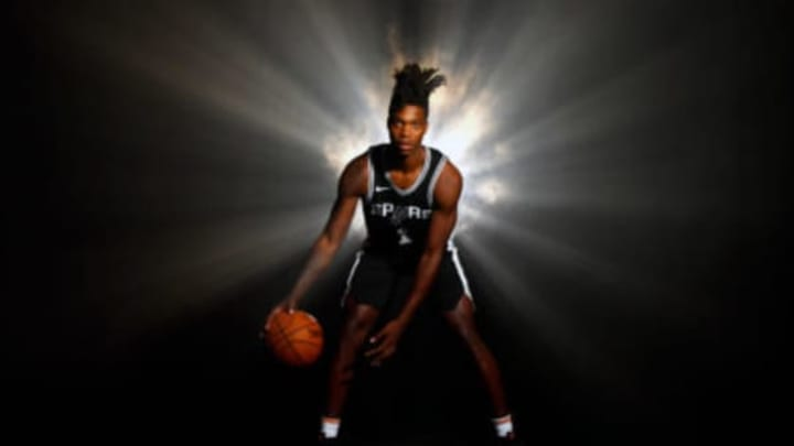 TARRYTOWN, NY – AUGUST 12: Lonnie Walker IV #1 of the San Antonio Spurs poses for a portrait during the 2018 NBA Rookie Photo Shoot on August 12, 2018 at the Madison Square Garden Training Facility in Tarrytown, New York. NOTE TO USER: User expressly acknowledges and agrees that, by downloading and or using this photograph, User is consenting to the terms and conditions of the Getty Images License Agreement. Mandatory Copyright Notice: Copyright 2018 NBAE (Photo by Jesse D. Garrabrant/NBAE via Getty Images)