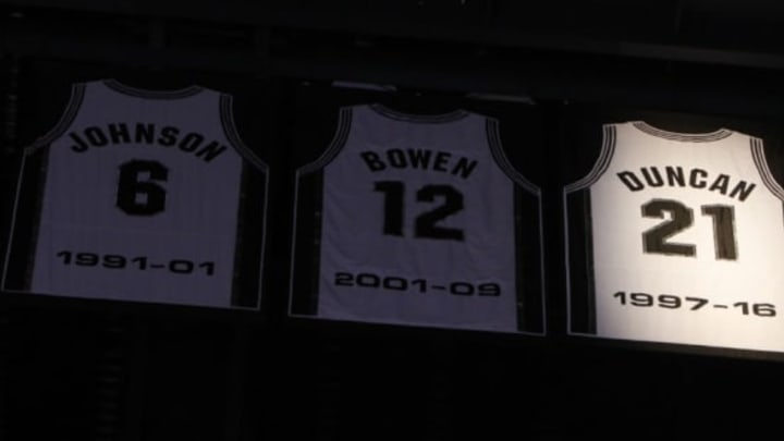 SAN ANTONIO,TX – DECEMBER 18: The jersey number of San Antonio Spurs' Tim Duncan is retired at AT&T Center on December 18, 2016 in San Antonio, Texas. NOTE TO USER: User expressly acknowledges and agrees that , by downloading and or using this photograph, User is consenting to the terms and conditions of the Getty Images License Agreement. (Photo by Ronald Cortes/Getty Images)
