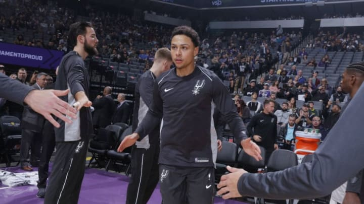 SACRAMENTO, CA - JANUARY 8: Bryn Forbes #11 of the San Antonio Spurs gets introduced into the starting lineup against the Sacramento Kings on January 8, 2018 at Golden 1 Center in Sacramento, California. NOTE TO USER: User expressly acknowledges and agrees that, by downloading and or using this photograph, User is consenting to the terms and conditions of the Getty Images Agreement. Mandatory Copyright Notice: Copyright 2018 NBAE (Photo by Rocky Widner/NBAE via Getty Images)