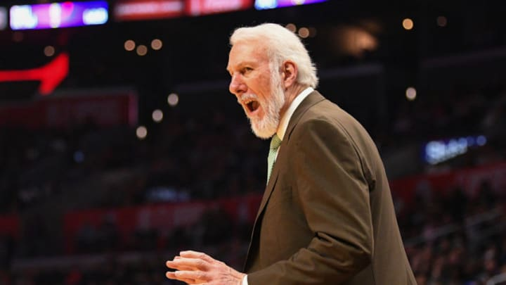 LOS ANGELES, CA - APRIL 03: San Antonio Spurs head coach Gregg Popovich shouts at an official during an NBA game between the San Antonio Spurs and the Los Angeles Clippers on April 3, 2018 at STAPLES Center in Los Angeles, CA. (Photo by Brian Rothmuller/Icon Sportswire via Getty Images)