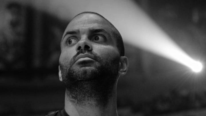 LOS ANGELES, CA - APRIL 3: Tony Parker #9 of the San Antonio Spurs looks on during the national anthem before the game against the LA Clippers (EDITORS NOTE this image has been converted to black and white) on April 3, 2018 at STAPLES Center in Los Angeles, California. NOTE TO USER: User expressly acknowledges and agrees that, by downloading and/or using this photograph, user is consenting to the terms and conditions of the Getty Images License Agreement. Mandatory Copyright Notice: Copyright 2018 NBAE (Photo by Andrew D. Bernstein/NBAE via Getty Images)