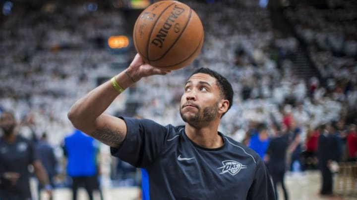 OKLAHOMA CITY, OK - APRIL 23: Josh Huestis #34 of the Oklahoma City Thunder shoots the ball before the game against the Utah Jazz in Game Four of Round One of the 2018 NBA Playoffs on April 23, 2018 NOTE TO USER: User expressly acknowledges and agrees that, by downloading and or using this photograph, User is consenting to the terms and conditions of the Getty Images License Agreement. Mandatory Copyright Notice: Copyright 2018 NBAE (Photo by Zach Beeker/NBAE via Getty Images)