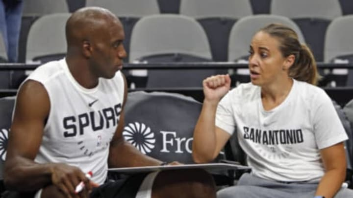 SAN ANTONIO,TX – SEPTEMBER 30 : Assistant coach Becky Hammon of the San Antonio Spurs works with Quincy Pondexter #3 before a preseason game against the Miami Heat at AT&T Center on September 30 , 2018 in San Antonio, Texas. NOTE TO USER: User expressly acknowledges and agrees that , by downloading and or using this photograph, User is consenting to the terms and conditions of the Getty Images License Agreement. (Photo by Ronald Cortes/Getty Images)