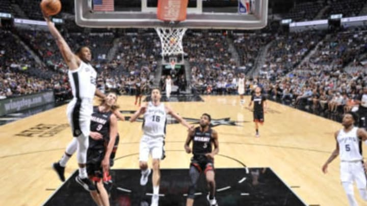 SAN ANTONIO, TX – SEPTEMBER 30: Rudy Gay #22 of the San Antonio Spurs dunks the ball against the Miami Heat during a pre-season game on September 30, 2018 at the AT&T Center in San Antonio, Texas. NOTE TO USER: User expressly acknowledges and agrees that, by downloading and or using this photograph, user is consenting to the terms and conditions of the Getty Images License Agreement. Mandatory Copyright Notice: Copyright 2018 NBAE (Photos by Mark Sobhani/NBAE via Getty Images)