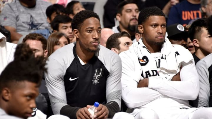 SAN ANTONIO, TX - SEPTEMBER 30: DeMar DeRozan #10, and Rudy Gay #22 of the San Antonio Spurs are seen against the Miami Heat during a pre-season game on September 30, 2018 at the AT&T Center in San Antonio, Texas. NOTE TO USER: User expressly acknowledges and agrees that, by downloading and/or using this Photograph, user is consenting to the terms and conditions of the Getty Images License Agreement. Mandatory Copyright Notice: Copyright 2018 NBAE (Photo by Bill Baptist/NBAE via Getty Images)
