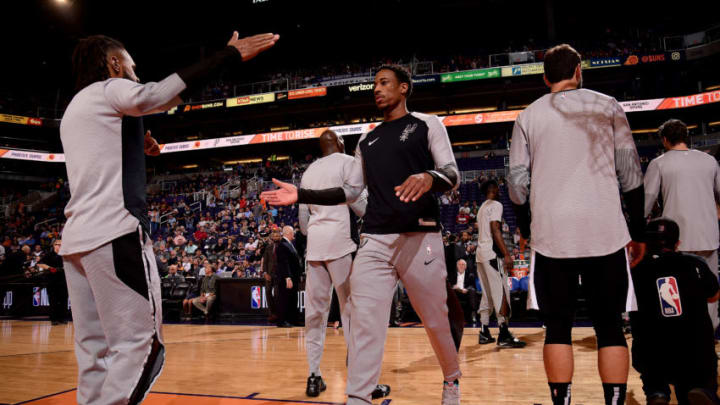 PHOENIX, AZ - OCTOBER 31: DeMar DeRozan #10 of the San Antonio Spurs gets introduced before the game against the Phoenix Suns on October 31, 2018 at Talking Stick Resort Arena in Phoenix, Arizona. NOTE TO USER: User expressly acknowledges and agrees that, by downloading and or using this photograph, user is consenting to the terms and conditions of the Getty Images License Agreement. Mandatory Copyright Notice: Copyright 2018 NBAE (Photo by Michael Gonzales/NBAE via Getty Images)