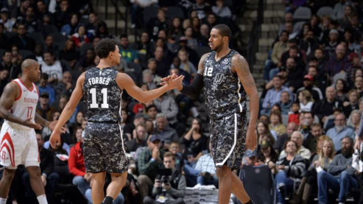 SAN ANTONIO, TX - NOVEMBER 10: LaMarcus Aldridge #12 of the San Antonio Spurs and Bryn Forbes #11 of the San Antonio Spurs shake hands during the game against the Houston Rockets on November 10, 2018 at AT&T Center in San Antonio, Texas. NOTE TO USER: User expressly acknowledges and agrees that, by downloading and or using this photograph, user is consenting to the terms and conditions of Getty Images License Agreement. Mandatory Copyright Notice: Copyright 2018 NBAE (Photo by Mark Sobhani/NBAE via Getty Images)
