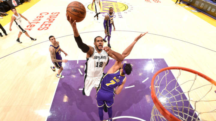 LOS ANGELES, CA - DECEMBER 5: LaMarcus Aldridge #12 of the San Antonio Spurs shoots the ball /L/ on December 5, 2018 at STAPLES Center in Los Angeles, California. NOTE TO USER: User expressly acknowledges and agrees that, by downloading and/or using this Photograph, user is consenting to the terms and conditions of the Getty Images License Agreement. Mandatory Copyright Notice: Copyright 2018 NBAE (Photo by Andrew D. Bernstein/NBAE via Getty Images)