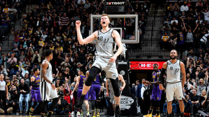SAN ANTONIO, TX - DECEMBER 7: Davis Bertans #42 of the San Antonio Spurs reacts against the Los Angeles Lakers on December 7, 2018 at AT&T Center in San Antonio, Texas. NOTE TO USER: User expressly acknowledges and agrees that, by downloading and/or using this Photograph, user is consenting to the terms and conditions of the Getty Images License Agreement. Mandatory Copyright Notice: Copyright 2018 NBAE (Photo by Andrew D. Bernstein/NBAE via Getty Images)