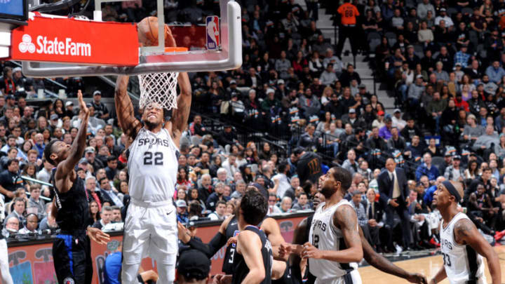 SAN ANTONIO, TX - DECEMBER 13: Rudy Gay #22 of the San Antonio Spurs dunks the ball during the game against the LA Clippers on December 13, 2018 at the AT&T Center in San Antonio, Texas. NOTE TO USER: User expressly acknowledges and agrees that, by downloading and or using this photograph, user is consenting to the terms and conditions of the Getty Images License Agreement. Mandatory Copyright Notice: Copyright 2018 NBAE (Photos by Mark Sobhani/NBAE via Getty Images)