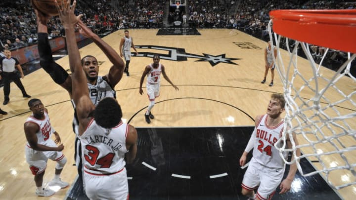 SAN ANTONIO, TX - DECEMBER 15: LaMarcus Aldridge #12 of the San Antonio Spurs shoots the ball against the Chicago Bulls on December 15, 2018 at the AT&T Center in San Antonio, Texas. NOTE TO USER: User expressly acknowledges and agrees that, by downloading and or using this photograph, user is consenting to the terms and conditions of the Getty Images License Agreement. Mandatory Copyright Notice: Copyright 2018 NBAE (Photos by Mark Sobhani/NBAE via Getty Images)