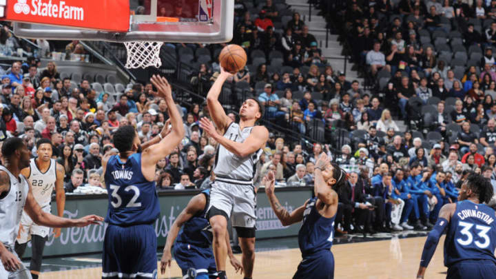 Bryn Forbes of the San Antonio Spurs shoots the ball against the Minnesota Timberwolves. (Photos by Mark Sobhani/NBAE via Getty Images)
