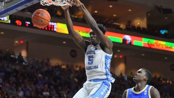 LAS VEGAS, NEVADA - NOVEMBER 23: Nassir Little #5 of the North Carolina Tar Heels dunks against Kris Wilkes #13 of the UCLA Bruins during the 2018 Continental Tire Las Vegas Invitational basketball tournament at the Orleans Arena on November 23, 2018 in Las Vegas, Nevada. (Photo by Sam Wasson/Getty Images)