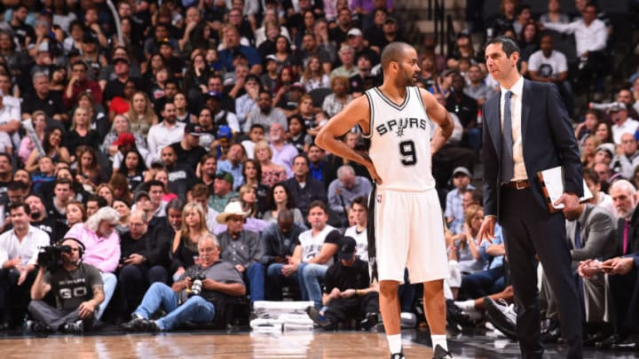 SAN ANTONIO, TX - MARCH 29: Assistant coach James Borrego of the San Antonio Spurs talks with Tony Parker #9 of the San Antonio Spurs during the game against the Golden State Warriors on March 29, 2017 at AT&T Center in San Antonio, Texas. NOTE TO USER: User expressly acknowledges and agrees that, by downloading and or using this photograph, user is consenting to the terms and conditions of Getty Images License Agreement. Mandatory Copyright Notice: Copyright 2017 NBAE (Photo by Noah Graham/NBAE via Getty Images)