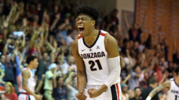 LAHAINA, HI – NOVEMBER 20: NBA Draft prospect Rui Hachimura #21 of the Gonzaga Bulldogs celebrates a shot during a second round game of Maui Invitational college basketball game against the Arizona Wildcats at the Lahaina Civic Center on November 20, 2018 in Lahaina, Hawaii. (Photo by Mitchell Layton/Getty Images)