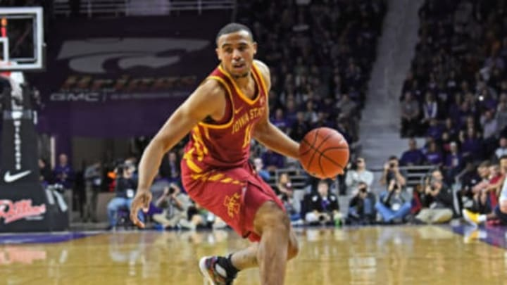 MANHATTAN, KS – FEBRUARY 16: NBA Draft prospect Talen Horton-Tucker #11 of the Iowa State Cyclones dribbles the ball during the first half against the Kansas State Wildcats on February 16, 2019 at Bramlage Coliseum in Manhattan, Kansas. (Photo by Peter G. Aiken/Getty Images)