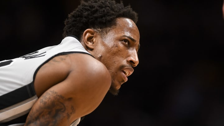 DENVER, CO – APRIL 13: DeMar DeRozan (10) of the San Antonio Spurs takes a breather against the Denver Nuggets during the fourth quarter of the Spurs' 101-95 win on Saturday, April 13, 2019. The Denver Nuggets hosted the San Antonio Spurs during game one of the teams' first round NBA playoffs series at the Pepsi Center. (Photo by AAron Ontiveroz/MediaNews Group/The Denver Post via Getty Images)