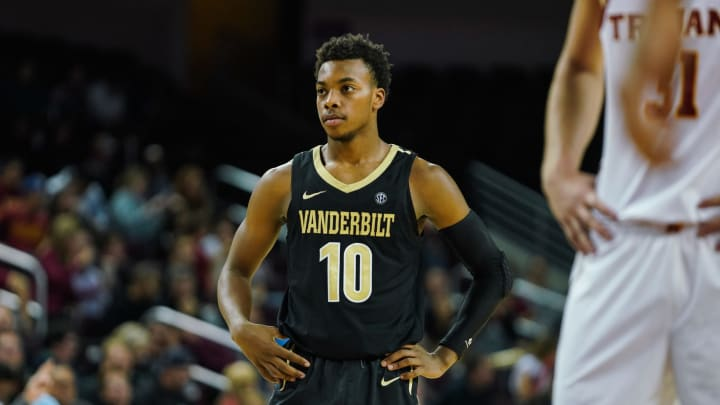 LOS ANGELES, CA – NOVEMBER 11: Darius Garland #10 of the Vanderbilt Commodores looks on against the USC Trojans during a game at The Galen Center. (Photo by Cassy Athena/Getty Images)