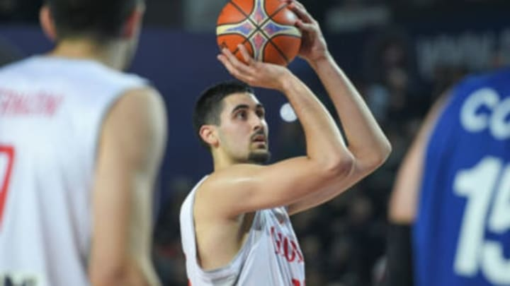 TBILISI, GEORGIA – DECEMBER 03: Goga Bitadze of Georgia shoots the ball during the FIBA Basketball World Cup 2019 European Qualifier match between Georgia and Israel at Tbilisi Sports Palace on December 3, 2018 in Tbilisi, Georgia. (Photo by Levan Verdzeuli/Getty Images)