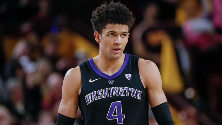 TEMPE, AZ – FEBRUARY 09: Washington Huskies guard Matisse Thybulle (4) looks on during a game between the Washington Huskies and the Arizona State Sun Devils (Photo by Kevin Abele/Icon Sportswire via Getty Images)