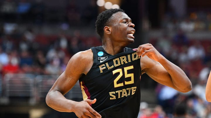 ANAHEIM, CA – MARCH 28: Florida State forward Mfiondu Kabengele (25) grabs his jersey during the NCAA Sweet Sixteen round basketball game (Photo by Brian Rothmuller/Icon Sportswire via Getty Images)