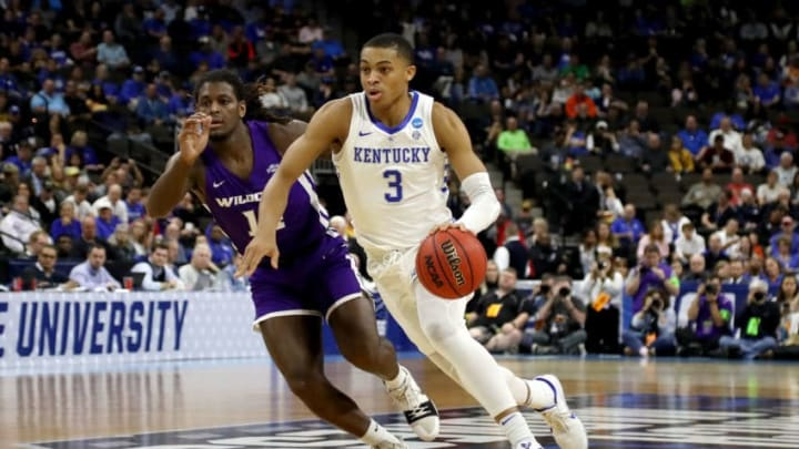 JACKSONVILLE, FLORIDA - MARCH 21: Keldon Johnson #3 of the Kentucky Wildcats dribbles the ball while being guarded by Trey Lenox #14 of the Abilene Christian Wildcats in the first half during the first round of the 2019 NCAA Men's Basketball Tournament at Jacksonville Veterans Memorial Arena on March 21, 2019 in Jacksonville, Florida. (Photo by Sam Greenwood/Getty Images)