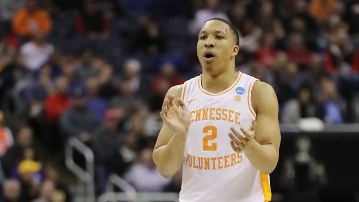 COLUMBUS, OHIO – MARCH 22: Grant Williams #2 of the Tennessee Volunteers reacts during the first half against the Colgate Raiders in the first round of the 2019 NCAA Men's Basketball Tournament at Nationwide Arena on March 22, 2019 in Columbus, Ohio. (Photo by Elsa/Getty Images)
