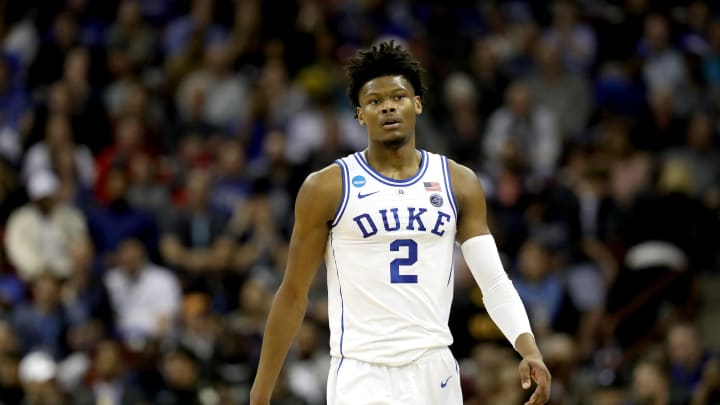 COLUMBIA, SOUTH CAROLINA – MARCH 22: Cam Reddish #2 of the Duke Blue Devils reacts against North Dakota State during the first round of the 2019 NCAA Men's Basketball Tournament (Photo by Streeter Lecka/Getty Images)