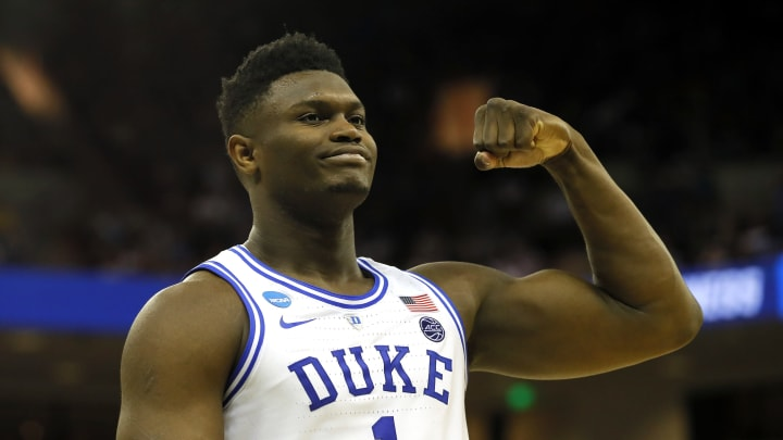 COLUMBIA, SOUTH CAROLINA – MARCH 22: Zion Williamson #1 of the Duke Blue Devils reacts after scoring during the first round of the 2019 NCAA Men's Basketball Tournament (Photo by Kevin C. Cox/Getty Images)