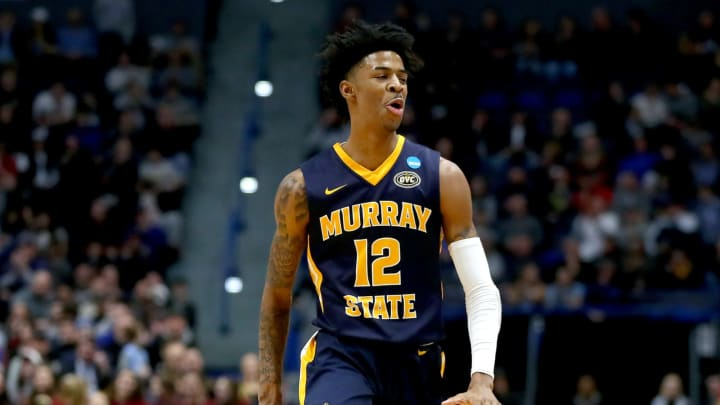 HARTFORD, CONNECTICUT – MARCH 23: Ja Morant #12 of the Murray State Racers celebrates his three point basket during the second round of the 2019 NCAA Men's Basketball Tournament (Photo by Maddie Meyer/Getty Images)