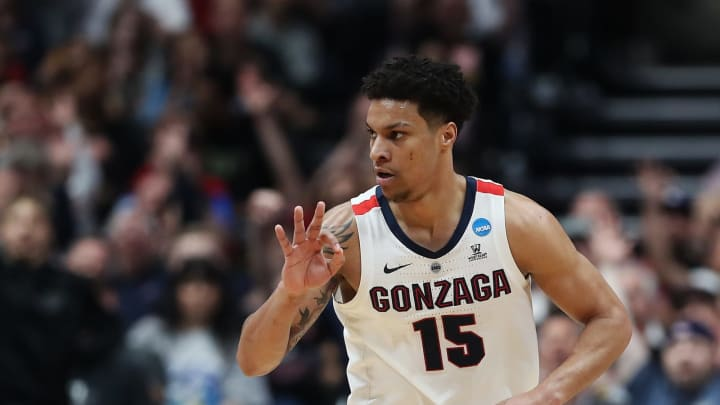 ANAHEIM, CALIFORNIA – MARCH 30: Brandon Clarke #15 of the Gonzaga Bulldogs celebrates after his team's made three pointer in the 2019 NCAA Men's Basketball Tournament (Photo by Sean M. Haffey/Getty Images)