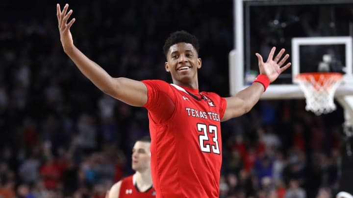 MINNEAPOLIS, MINNESOTA – APRIL 06: Jarrett Culver #23 of the Texas Tech Red Raiders celebrates during the 2019 NCAA Final Four semifinal (Photo by Streeter Lecka/Getty Images)
