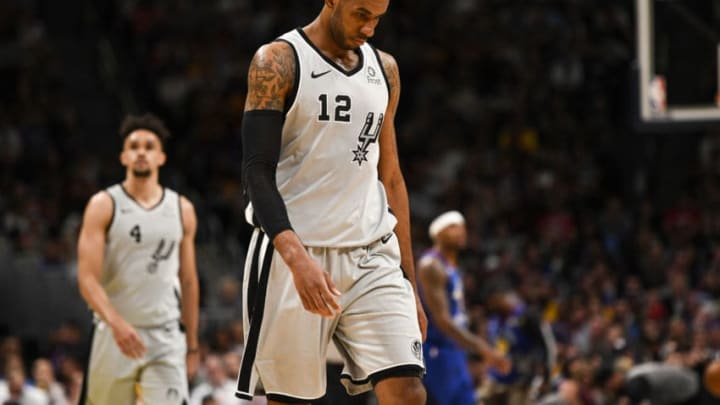 DENVER, CO - APRIL 23: LaMarcus Aldridge (12) of the San Antonio Spurs walks off the court during the fourth quarter of the Denver Nuggets' 108-90 win on Tuesday, April 23, 2019. The Denver Nuggets and the San Antonio Spurs faced off for game five of their first round NBA playoffs series at the Pepsi Center. (Photo by AAron Ontiveroz/MediaNews Group/The Denver Post via Getty Images)