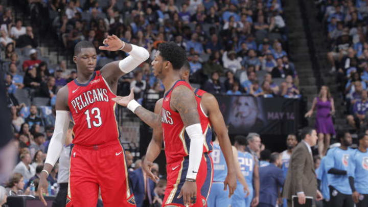 SACRAMENTO, CA – APRIL 7: Potential San Antonio Spurs target Cheick Diallo #13 and Elfrid Payton #4 of the New Orleans Pelicans high five during the game against the Sacramento Kings on April 7, 2019 at Golden 1 Center in Sacramento, California. (Photo by Rocky Widner/NBAE via Getty Images)