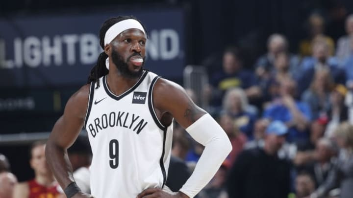 INDIANAPOLIS, IN - APRIL 07: DeMarre Carroll #9 of the Brooklyn Nets looks on during a game against the Indiana Pacers at Bankers Life Fieldhouse on April 7, 2019 in Indianapolis, Indiana. NOTE TO USER: User expressly acknowledges and agrees that, by downloading and or using the photograph, User is consenting to the terms and conditions of the Getty Images License Agreement. (Photo by Joe Robbins/Getty Images)