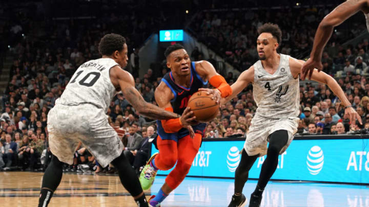 SAN ANTONIO, TX - MARCH 2: Russell Westbrook #0 of the Oklahoma City Thunder drives to the basket against the San Antonio Spurs on March 2, 2019 at the AT&T Center in San Antonio, Texas. NOTE TO USER: User expressly acknowledges and agrees that, by downloading and or using this photograph, user is consenting to the terms and conditions of the Getty Images License Agreement. Mandatory Copyright Notice: Copyright 2019 NBAE (Photos by Darren Carroll/NBAE via Getty Images)