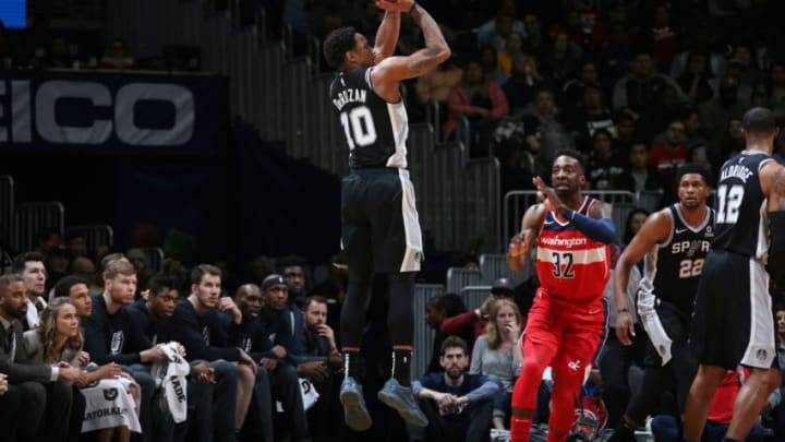 WASHINGTON, DC - APRIL 5: DeMar DeRozan #10 of the San Antonio Spurs shoots the ball against the Washington Wizards on April 5, 2019 at Capital One Arena in Washington, DC. NOTE TO USER: User expressly acknowledges and agrees that, by downloading and or using this Photograph, user is consenting to the terms and conditions of the Getty Images License Agreement. Mandatory Copyright Notice: Copyright 2019 NBAE (Photo by Stephen Gosling/NBAE via Getty Images)