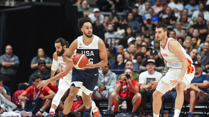 ANAHEIM, CA - AUGUST 16: Derrick White #46 of Team USA looks to pass the ball during the game against Team Spain on August 16, 2019 at the Honda Center in Anaheim, California. NOTE TO USER: User expressly acknowledges and agrees that, by downloading and/or using this photograph, user is consenting to the terms and conditions of the Getty Images License Agreement. Mandatory Copyright Notice: Copyright 2019 NBAE (Photo by Adam Pantozzi/NBAE via Getty Images)