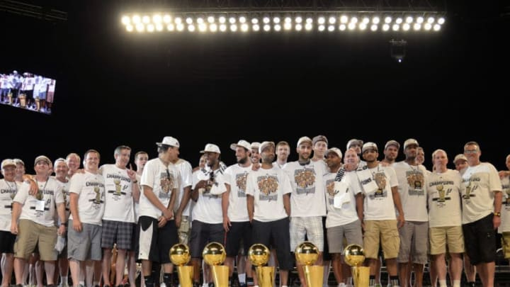 SAN ANTONIO, TX - JUNE 18: The San Antonio Spurs during The San Antonio Spurs NBA Championship Celebration on June 18, 2014 in the Alamodome in San Antonio, Texas. NOTE TO USER: User expressly acknowledges and agrees that, by downloading and/or using this Photograph, user is consenting to the terms and conditions of the Getty Images License Agreement. Mandatory Copyright Notice: Copyright 2014 NBAE (Photo by D. Clarke Evans/NBAE via Getty Images)